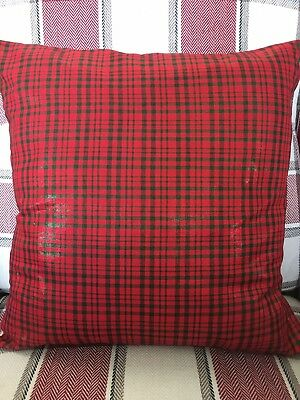 "Festive Check 16"" Square Cushion Cover in Red"