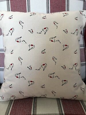 "Christmas Robins 16"" Square Cushion Cover in 100% Cotton Fabric"