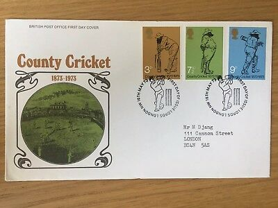 GB 1973 County Cricket First Day Cover County Cricket Lords London