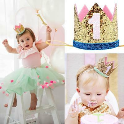 Baby Boys Girls First Birthday Crown Cap Headband Party Hat Hair Accessory Chic