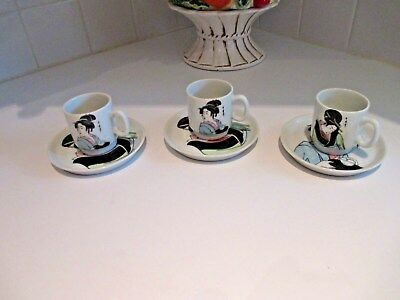 3 Royal Crown Japanese Demitasse Cups & Saucers Geisha Utamaro Japan Espresso