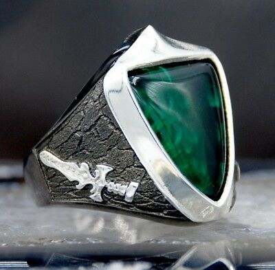 Emerald Stone Turkish Jewelry Handmade 925 Sterling Silver Mens Ring ALL SİZE 02