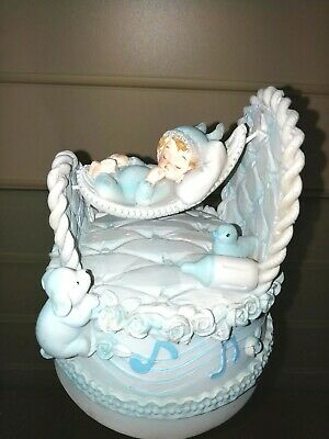 Baby boy in cradle wind up musical ornament new baby gift christening