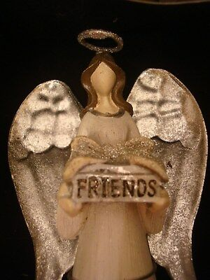 "FRIENDS Ornament, Christmas ANGEL St Nicholas Square Peace & Love  5"" mip"