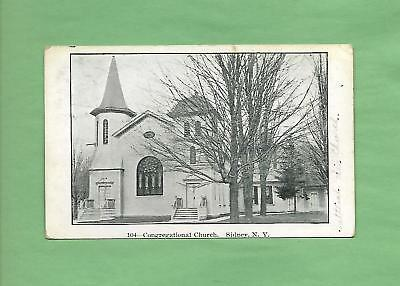 CONGREGATIONAL CHURCH In SIDNEY, NY On Vintage 1907 Postcard