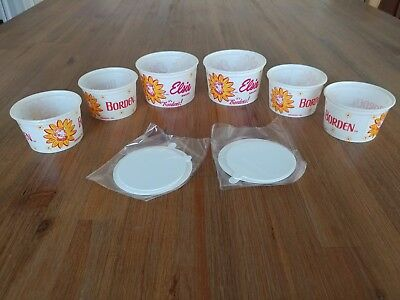 Borden's Elsie Ice Cream 6 cups with 6 lids Vintage old stock