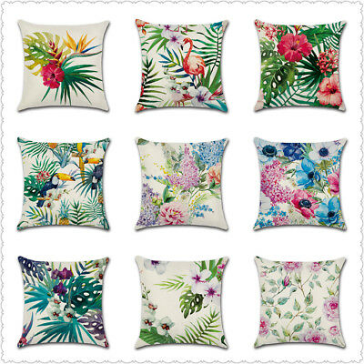 Tropical Plant Throw Pillow Case Flower Leaves Cushion Cover Home Sofa Bed Decor
