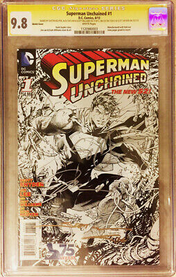 Superman Unchained #1 Sketch Variant 1:300 Cgc Ss 9.8 Signed By Everyone Hot Htf
