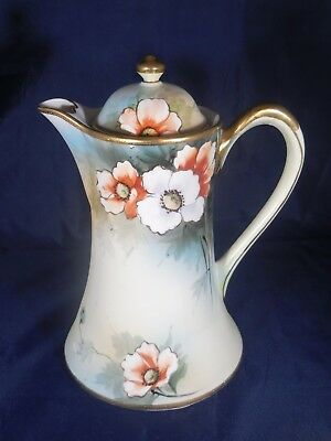 Antique Hand-Painted Nippon Chocolate/Coffee Pot - Flower Design - MINT   (C16)