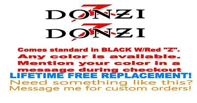 """Pair Of 5""""x28"""" Donzi Boat Hull Decals. With Red Z. Your Color Choice 185"""