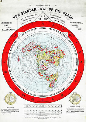 "Alexander Gleason's 1892 New Standard Map of the World Flat Earth 11""x15"" Repro"