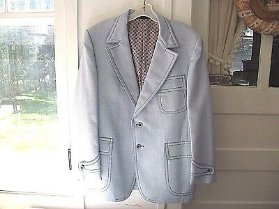 VINTAGE 1970s LT BLUE POLYESTER CRICKETEER DISCO SPORT COAT/JACKET/BLAZER