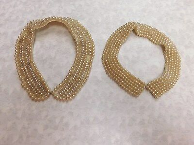 Vintage Glentex Beaded Faux Pearl Collars ~Lot Of 2~ Made In Japan
