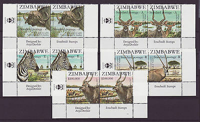 Zimbabwe 2007 SAPOA National Animals Imprint Pairs, MNH (Zebra, Buffalo)