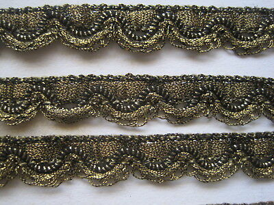 "Antique French Gold Scallop Metal Trim   2 Yards 4""  Doll's Edging"