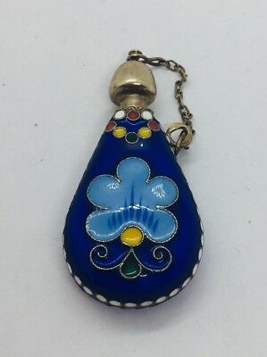Antique Russian 916 Sterling Silver Blue Enamel Perfume Bottle