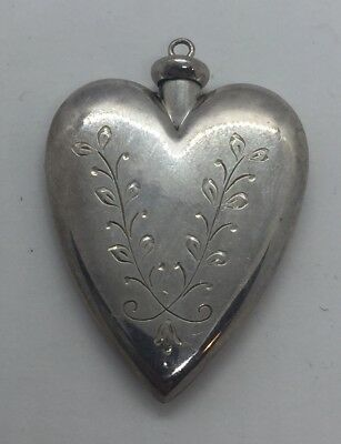 Vintage Sterling Silver Ornate Heart Perfume Bottle Pendant