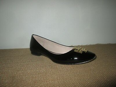 f865f1a244f934 TORY BURCH Raleigh Black Patent Leather Ballet Flats Shoes w  Gold Logo Sz  6.5