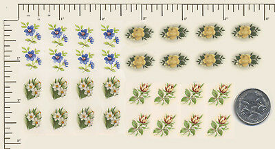 32 x Waterslide ceramic decals Decoupage Small floral 4 different PD956