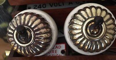 2 X Jelly Mould Brass & Porcelain Light Switches Original Victorian