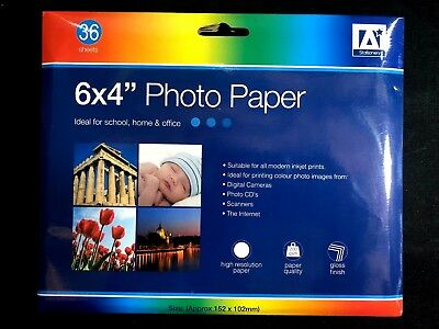 "36 Sheets 6 x 4"" 200 gsm High Glossy with Premium Quality Photo Paper"