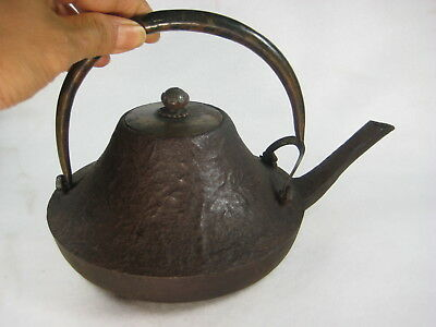 Antique Japanese Meiji Era Cast Iron Tea / Choshi Sake Pot Makie Tetsubin