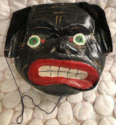 Antique Vintage West Germany Paper Cardboard Halloween Mask Puppy Face