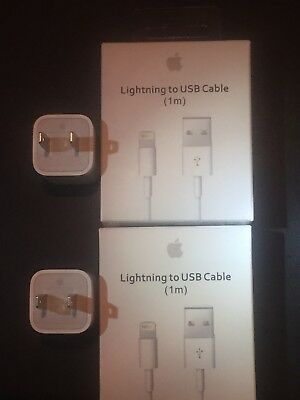 """2-OEM Apple Wall Charger Blocks 2-OEM Usb Charger Cables iPhone X/8/7/6/5/4""""NEW"""""""