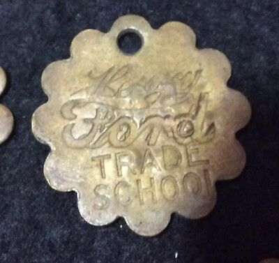 Antique Early 20s-30s Henry Ford Trade School Vtg Brass Tool Check Tag #488 N8