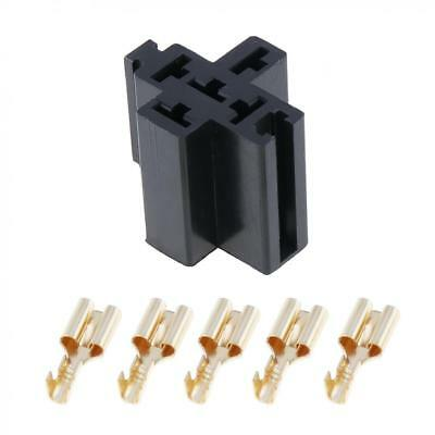 6.3mm Car Auto Vehicle 5 Pin Relay Socket Holder with 5pcs Copper Terminal NEW