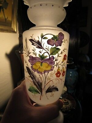 Exquisite HAND PAINTED ANTIQUE BLOWN BRISTOL GLASS VASE