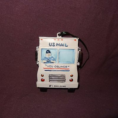 """US Mail #1 Mailman Truck Ornament Christmas Tree  3"""" Snowman TJs Holiday Deliver"""