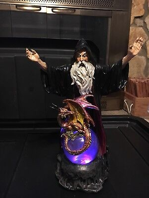 Wizard Casting Spell w/ Small Dragon Purple Crystal Ball StealStreet LED Statue