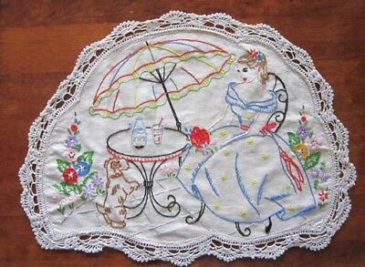 Vintage Crinoline Lady Hand Embroidered Doily