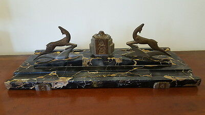 Stunning Rare Stylish Marble Art Deco French Desk Ink Stand Noel/Christmas 1942