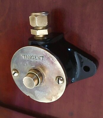Vintage old Industrial  TANGENT Bell Push Cast Iron & Brass Pristine Condition!