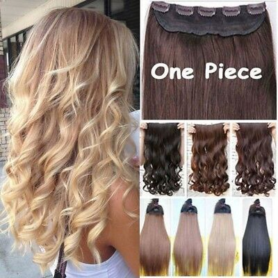 UK Real 5% Human Long Clip in Hair Extensions One Piece Full Head Straight Wavy