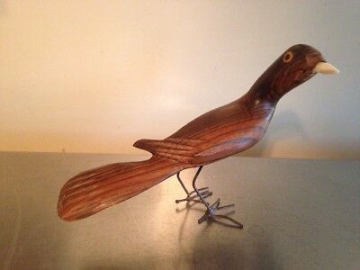 Vintage Hand Carved Wood Bird Folk Art W/Wire Legs