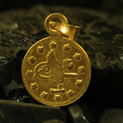 Ancient Handmade Ottoman Coin Pendant 22K Gold over 925K Sterling Silver
