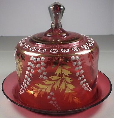 Antique Cranberry Domed Cheese Dish~ Enamel Flowers & Unusual Cased Glass Finial