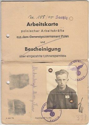 Personal Arbeitkarte identity card for polish worker 1943 (4)