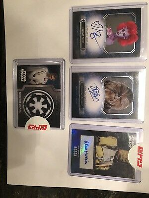 4 card Star Wars Lot: 2 Masterwork autos, 1 Evolution Auto, 1 Rogue One Patch