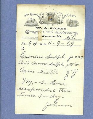1869 WA Jones Druggist Apothecary Warrenton Missouri Prescription Receipt No 94