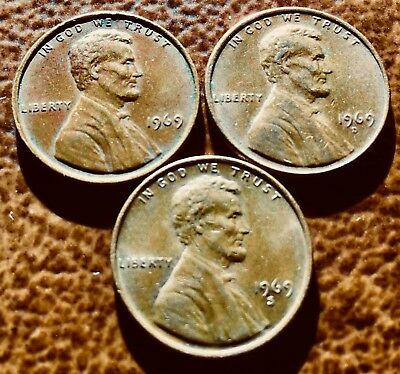 1969 P D S Lincoln Penny 95% Copper Set Circulated.