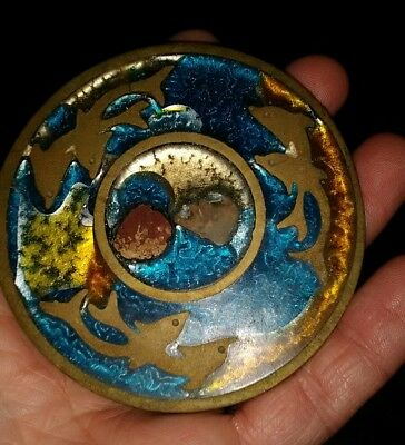 Hand Made In Greece Brass Inlay Very Rare With Island Tropic Dolphins
