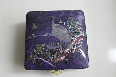 Korean Black & Purple Lacquered Inlay JEWELRY BOX With Mother Of Pearl