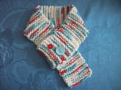 Hand Knitted Baby Toddler Chunky Cotton Red White & Blue Loop Scarf With Buttons