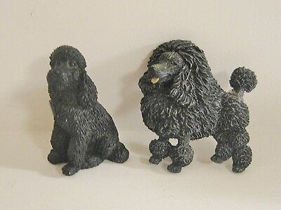 Two Black Poodle Magnets - Kennel Clip and Show Clip