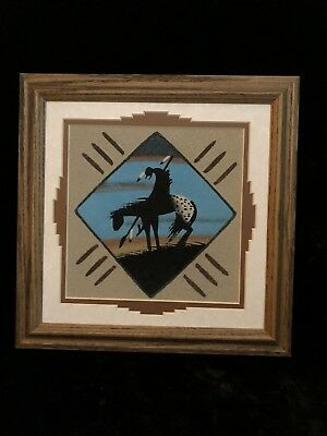 Native Indian Navajo Sand Art Painting The End of the Trail Signed by Artist