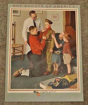 """SET OF 6 1963 NORMAN ROCKWELL BOY SCOUT ART PRINT 16"""" x 21"""" PHILMONT SCOUTMASTER"""